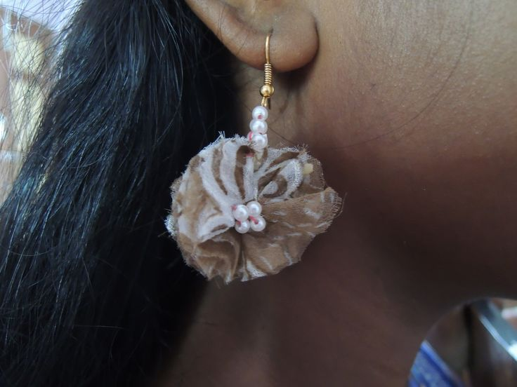 Waste fabric earring