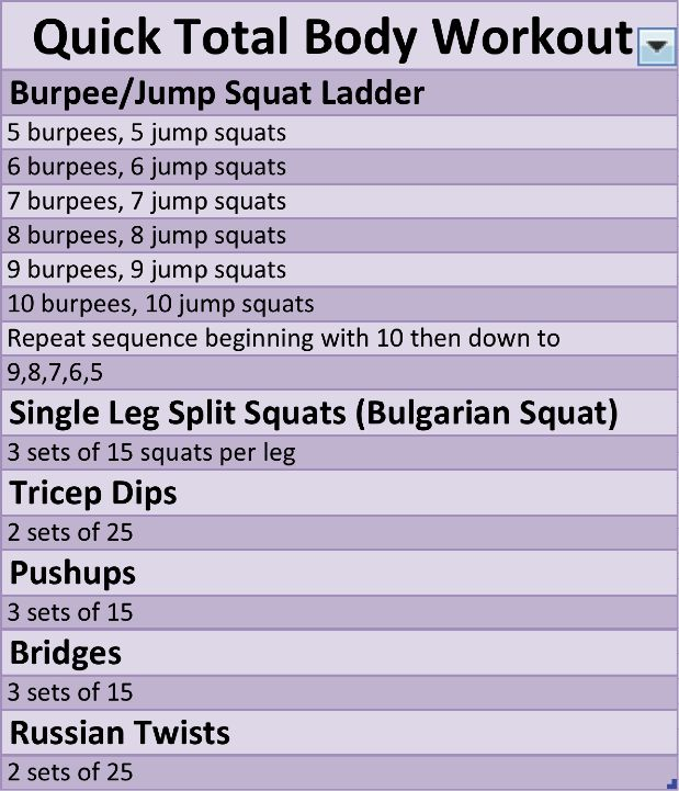 total body workout... first part is killer!