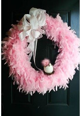 baby shower wreath (without the bird, with wooden E painted with damask and a black bow)