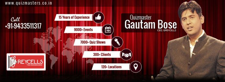 As things stand now Quiz conduction in India has changed for better and are no more restricted as college or school events and has been engrained in corporate events, charity events and more. His knowledge of the subject matter, charisma, striking personality and effective presentation of quiz, has made people watch Gautam Bose quiz shows with ardent admiration year after year.