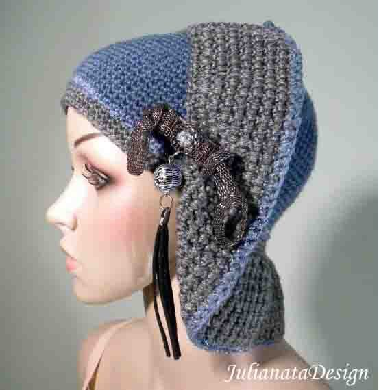 TRANSFORMER BEANIE/HAT - Retro Style, Wearable Fiber Art Headpiece, Removable Hand Assembled Brooch, Unsurpassed Quality Yarn