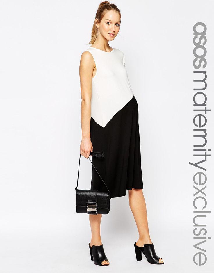 ASOS+Maternity+Asymmetric+Shift+Dress+In+Colour+Block