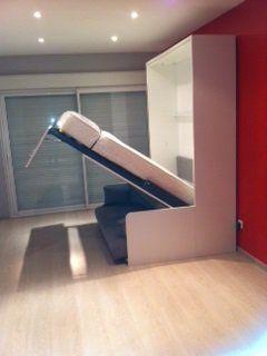 SPACE SOFA FAST armoire lit escamotable 140cm blanche avec canapé microfibre grise