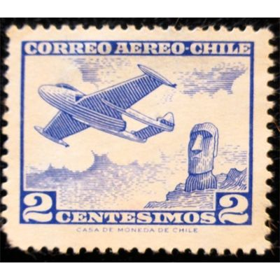 Chile, Aviation, Plane over monument, 1960-1967 unused