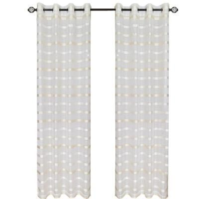 Lavish Home White/Cream Arla Grommet Curtain Panel, 84 in. Length-63-84Q196W at The Home Depot
