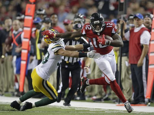 Packers vs. Falcons:    October 30, 2016  -  33-32, Falcons  -      Green Bay Packers strong safety Micah Hyde (33) is unable to stop Atlanta Falcons wide receiver Mohamed Sanu (12) on this first down with two minutes left in the game during the Green Bay Packers 33-32 loss to the Atlanta Falcons, Sunday, October 30, 2016 at the Georgia Dome in Atlanta Georgia.  Rick Wood /USA TODAY NETWORK-Wisconsin
