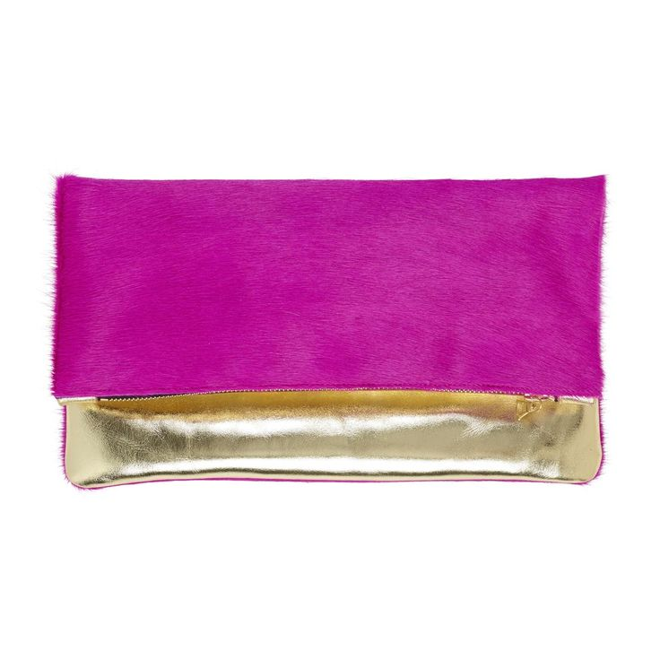 Sarah Baily | Bobby Pink/gold fold over clutch