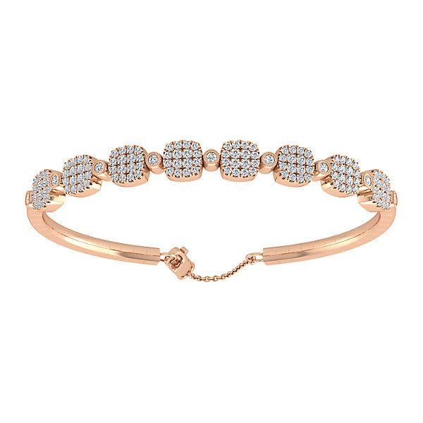 14k Pink Gold Diamond Bangle | Gabriel & Co NY | BG3872K45JJ