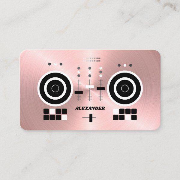 Dj Modern Rose Gold Tone Faux 2019 Business Card Zazzle Com Dj Business Cards Visiting Card Design Business Card Modern