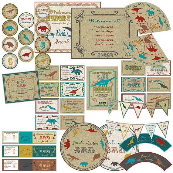 Get a dinosaur themed printable party set to make your child's birthday extra special.  It includes cupcake toppers, pennants, bottle wraps, tags, welcome signs, a thank you card, and an invitation.