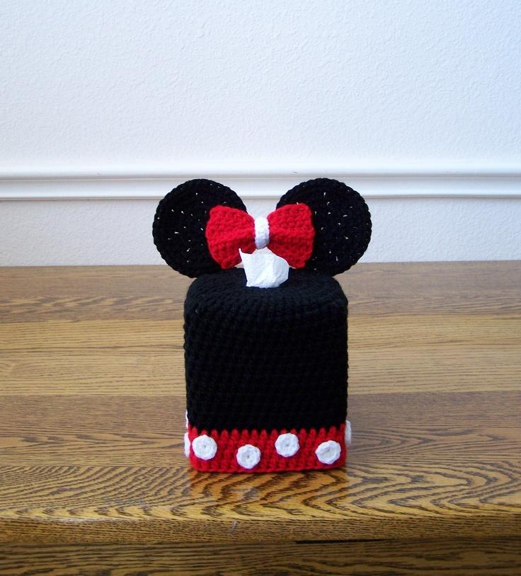 Super cute for a Disney bathroom theme. Crochet Tissue Box Cover. Minnie Mouse Tissue Cover. $24.00, via Etsy.