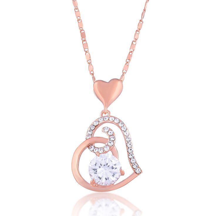Rose Gold Open Heart Crystal Necklace For Women, Mom or Girlfriend