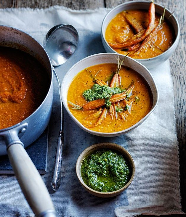 Roast carrot soup with carrot-top pesto recipe :: Gourmet Traveller