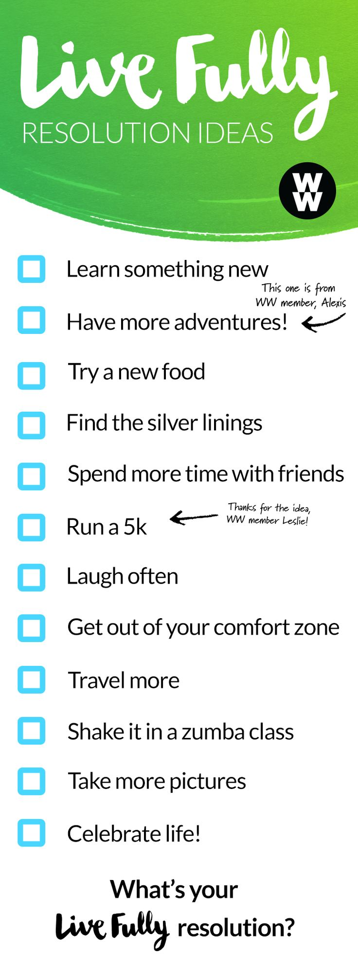 This year's resolution: to Live Fully. Check off this list, or make your own. Tap to start crushing your goals today.