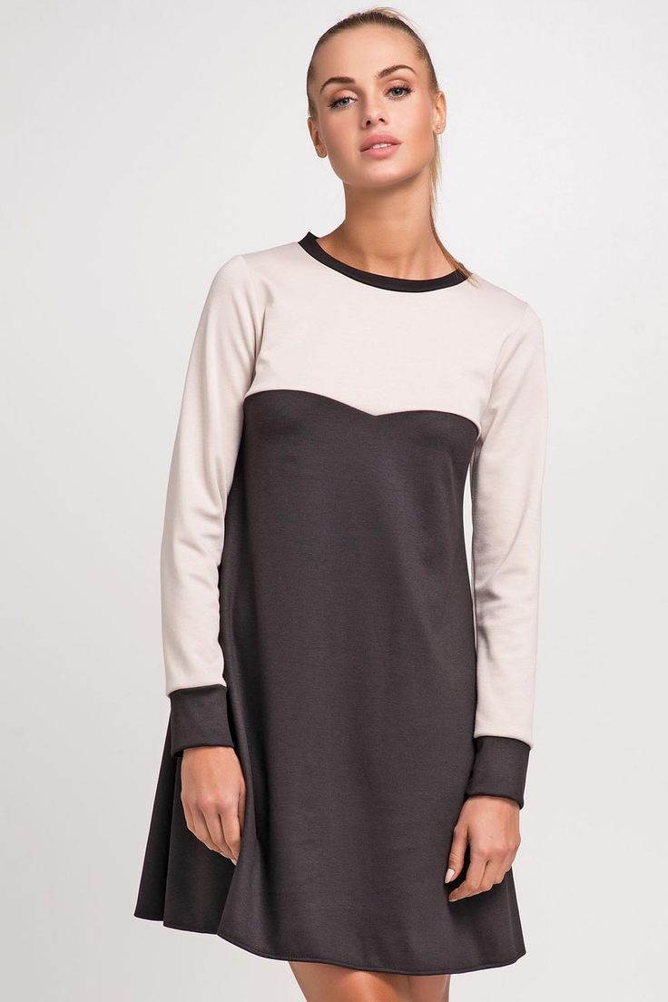 Beige and Black Seam Swing Dress with Long Cuffed Sleeves