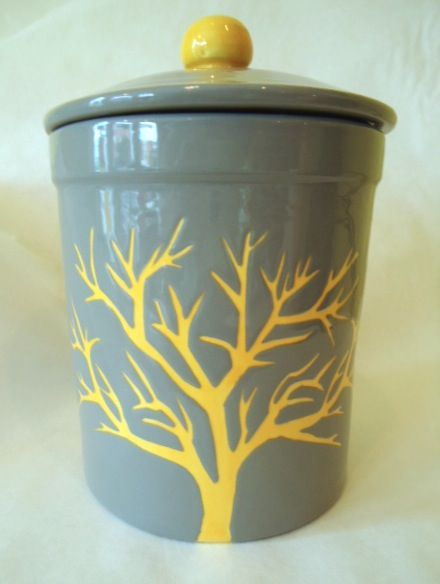 Modern grey and yellow cookie jar | Customer piece from All Fired Up, Richmond VA