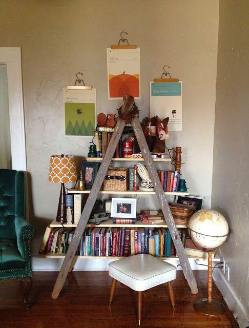 Ladder bookshelfIvy & Co.: Home Tour - 1914 Bungalow#hometour #midcentury #vintage #antique #repurpose