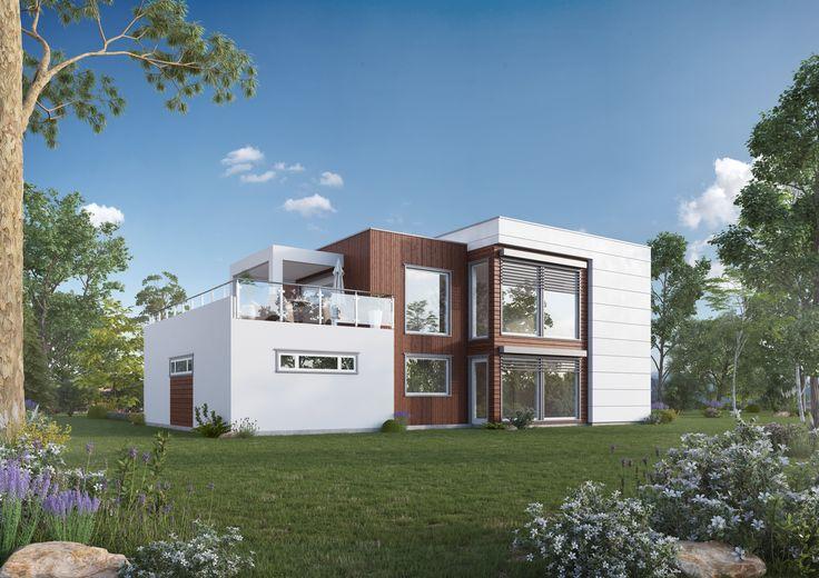 Her har arkitekten tenkt at Molde utvendig kan bygges med vedlikeholdsfrie plater og innslag av royal -impregnert kledning.    to etasjer.