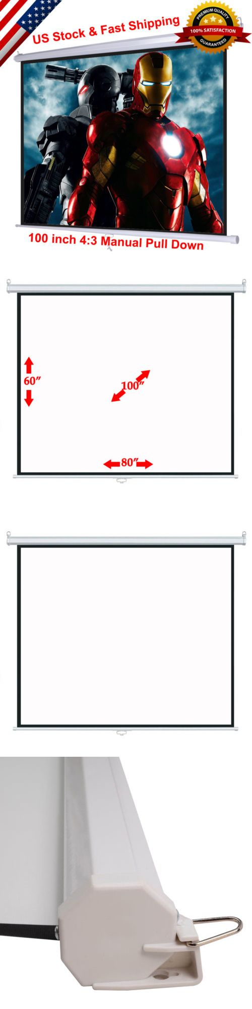Projection Screens and Material: 100 4:3 Manual Pull Down Projection Projector Screen Home Theater Movie 80 X60 -> BUY IT NOW ONLY: $43.68 on eBay!