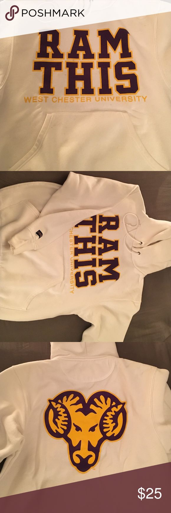 """West Chester University Hoodie West Chester University """"Ram This"""" JanSport hoodie! Large Ram logo on the back shown in third photo. Last photo shows some discoloring in two spots between lettering, but hardly noticeable if you aren't looking for it!! Jansport Tops Sweatshirts & Hoodies"""