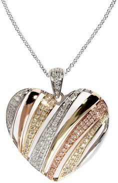 Trio by EFFY Diamond Diagonal Heart Pendant (3/8 ct. t.w.) in Tri-Tone 14k Gold on shopstyle.com