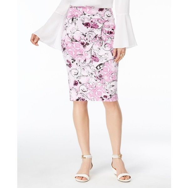 Thalia Sodi Printed Pencil Skirt, ($40) ❤ liked on Polyvore featuring skirts, pink ice combo, pink pencil skirt, knee length pencil skirt, white knee length pencil skirt, pencil skirt and embellished pencil skirt