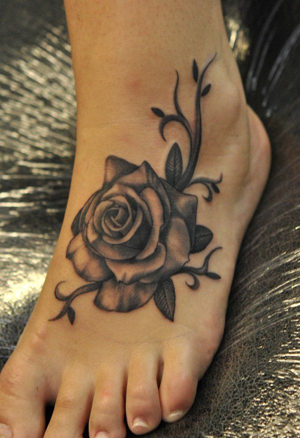 black rose foot tattoo - 50 Awesome Foot Tattoo Designs | Art and Design