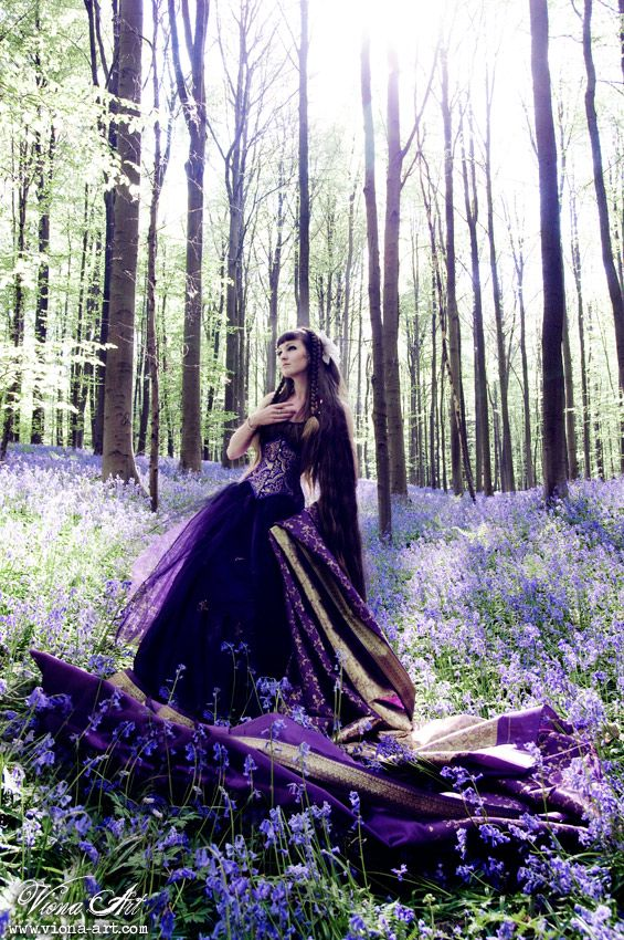 Fantasy Photography. Purple Dress/Gown and Flowers, in the Enchanted Woods/Forest.