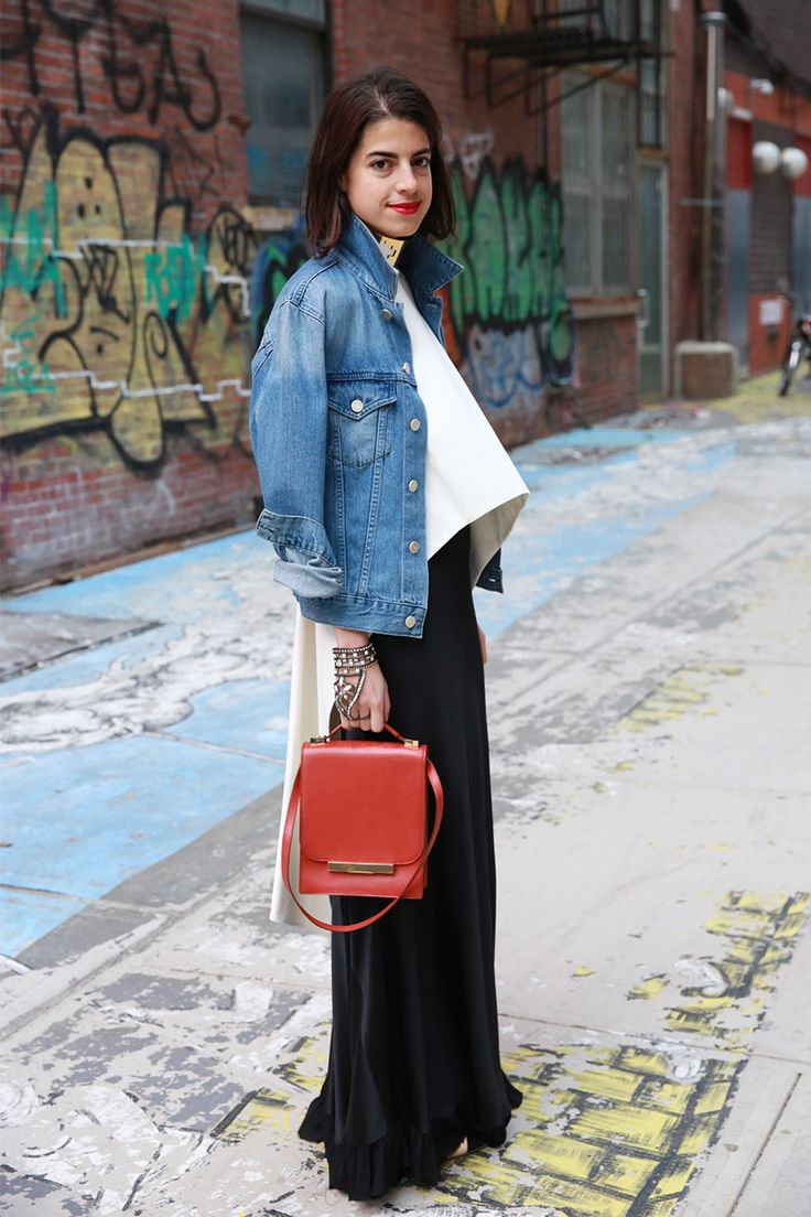 denim with a twist. #LeandraMedine in NYC. #ManRepeller [ Find. Shop. Discover. www.specialteesboutique.com ]