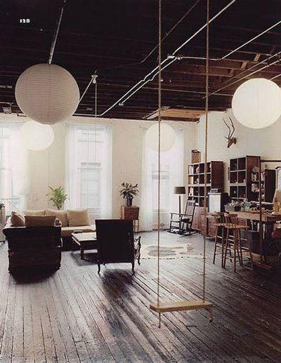 Fun: Idea, Living Rooms, Floors, Open Spaces, Future, Interiors Design, Indoor Swings, Loft, House