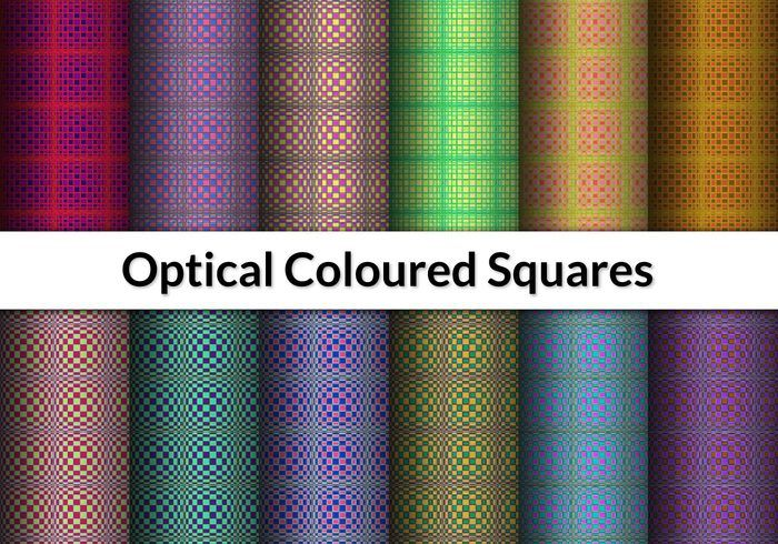 12 Optical Coloured Squares Patterns
