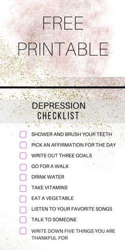 Free printable depression survival checklist