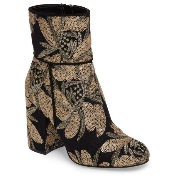 Women's Steve Madden Goldie Sequin Embroidered Bootie ($130) ❤ liked on Polyvore featuring shoes, boots, ankle booties, gold sequin, short black boots, block heel ankle boots, ankle boots, black boots and steve madden booties