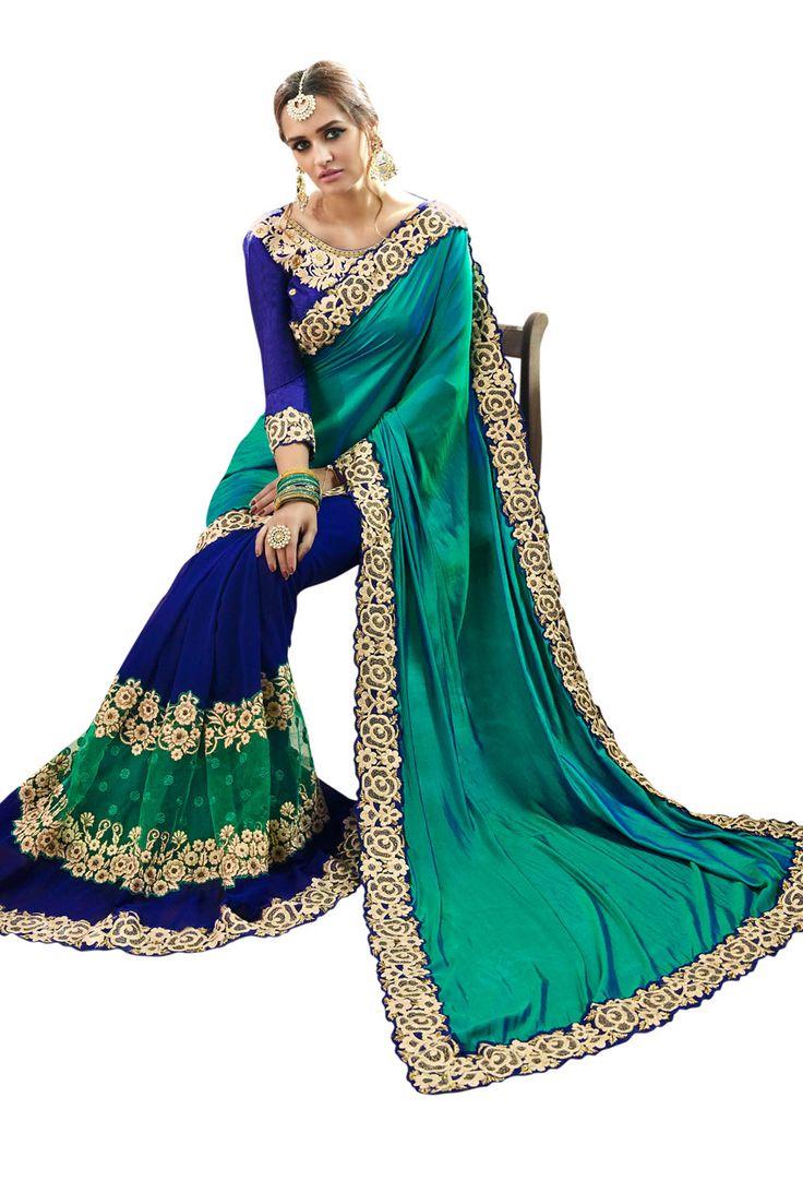 #Green Faux #Georgette #Designer #Saree #nikvik  #usa #designer #australia #canada #freeshipping #dress #saris