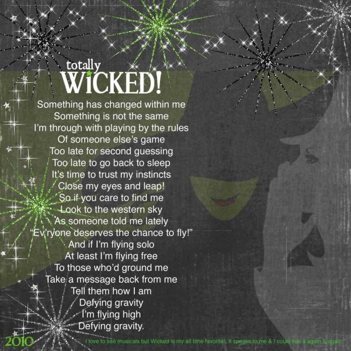 I love, love, love Wicked!  @Sarah Anderson, I thought of you when  saw this page!