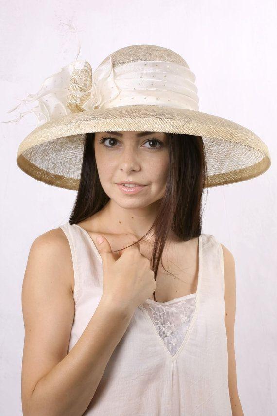 Cream wedding hat, widebrim bridal hat, Royal Ascot hat, Kentucky derby hat…