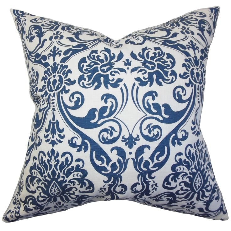 Saskia Damask Navy Blue Feather Filled 18-inch Throw Pillow - Overstock™ Shopping - Great Deals on PILLOW COLLECTION INC Throw Pillows