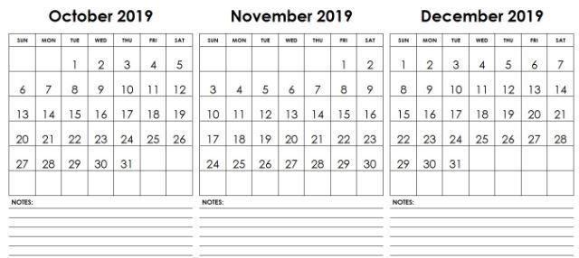 October November December 2019 Calendar Blank Printable Template