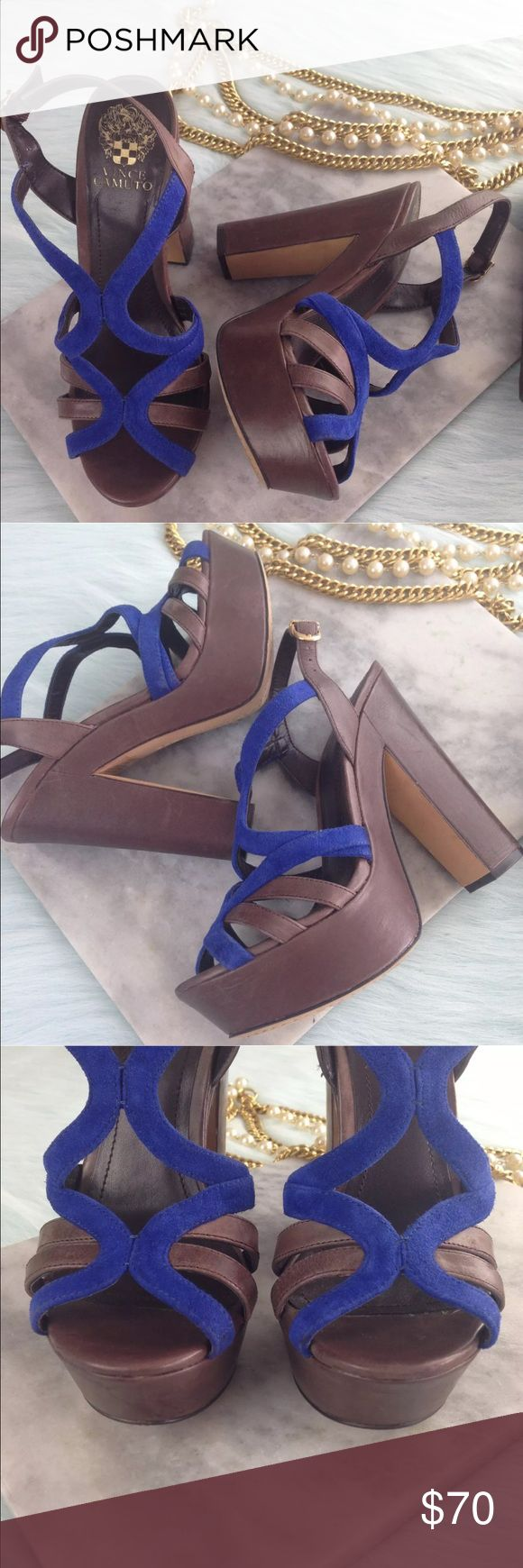 Vince Camuto $160 Platform Wedge Heels Shoes Vince Camuto $160 Womens Blue Brown Leather Platform Wedge Heels Sandals Shoes 8 Condition: Excellent; worn once Style: Deco Features: Brown leather upper with blue leather suede criss-cross straps Ankle straps with logo on buckle Vince Camuto Shoes Platforms