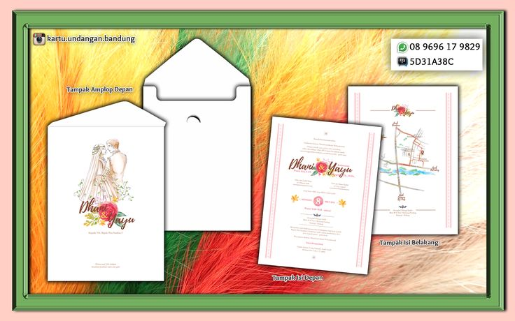 "Model Semi Hard Cover  Harga Rp. 9 K  Order Minimum 300  Fast Respon: Bpk Deny 08 9696 17 9829 Pin BB 5D31A38C Jl. Pagarsih No. 31 Bandung Pengen Kartu Undangan yang Artistik dan tampak beda dengan yang lain..? Kartu Undangan yang satu ini layak dijadikan Referensi. Gambar photo pengantin dilukis di kanvas, kemudian dijadikan photo cover undangan, begitu juga dengan gambar bunga, angka 8 tanggal pernikahan dan peta. Asli dibuat diatas kanvas lukisan dan ""diangkat"" dijadikan materi undan"