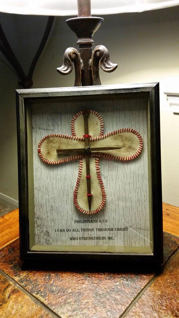 baseball cross shadow box on Etsy, $50.00