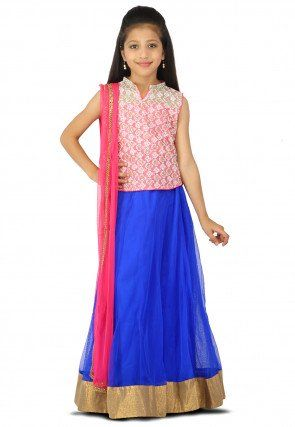 Embroidered Net A Line Lehenga in Royal Blue