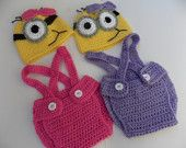 $19.49 ready Minion purple or pink crochet outfit- halloween costume, hat,diaper-Baby girl Crochet Despicable Me Outfit-newborn Halloween costumes