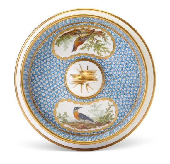 C1782 86 A Sevres Porcelain Bleu Celeste Oeil De Perdrix Ornithological Part Dessert Service Circa 1782 86 Blue Interlaced L S Sevres Porcelain Small Birds