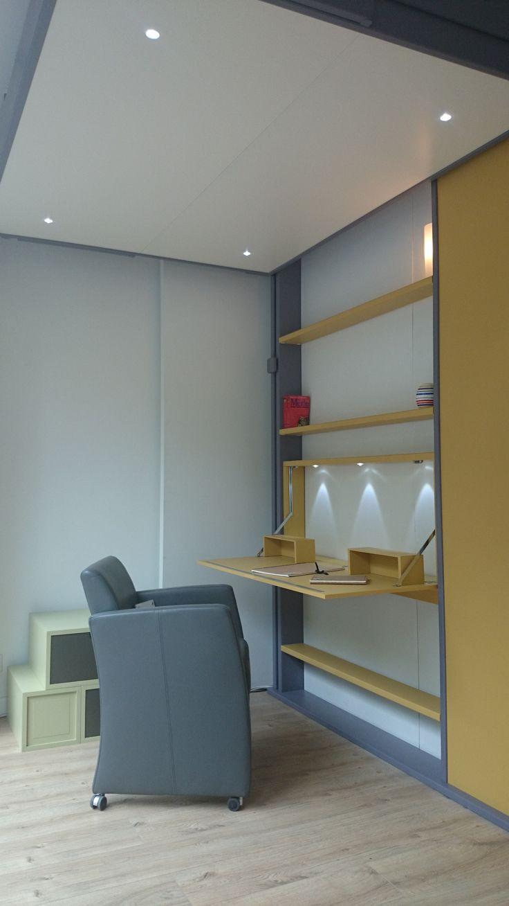 le dkl notre nouveau lit escamotable avec son secr taire. Black Bedroom Furniture Sets. Home Design Ideas
