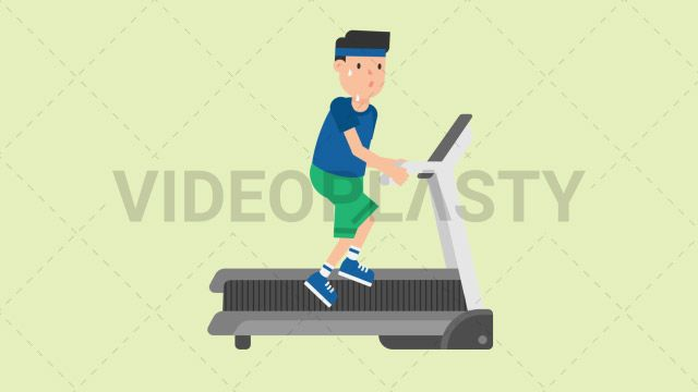 A man wearing a blue t-shirt green shorts and a blue headband is sweating like crazy running on a treadmill Two version are included: normal (with a start animation) and loopable. The normal version can be extended with the loopable version Clip Length:10 seconds Loopable: Yes Alpha Channel: Yes Resolution:FullHD Format: Quicktime MOV