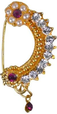Pearl Paradise Cubic Zirconia Yellow Gold Plated Alloy Nose Ring Price in India - Buy Pearl Paradise Cubic Zirconia Yellow Gold Plated Alloy Nose Ring Online at Best Prices in India   Flipkart.com