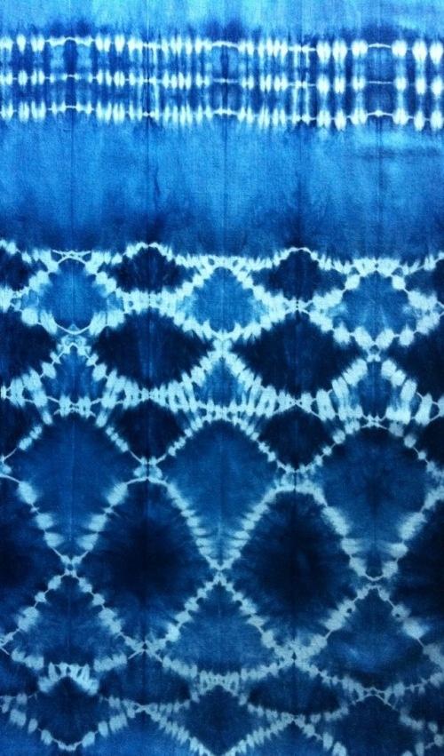 "hand-dyed indigo fabric using the Japanese art of ""Shibori"" via Georgete Keszler Chait"