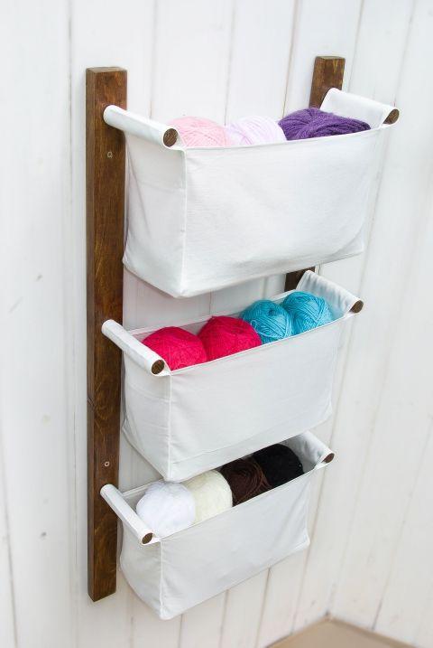 Fali tároló   dió színű fapáccal   3 rekeszes   Fehér lenvászonból, Bútor, Otthon, lakberendezés, Tárolóeszköz, Fali tároló   dió színű fapá...