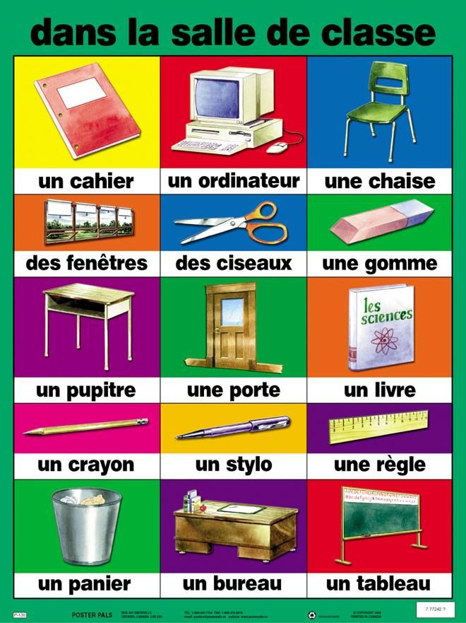Nice word cards for classroom objects
